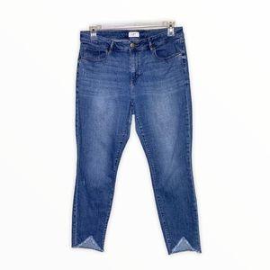 Loft Curvy Skinny Frayed Hem Cropped Jeans